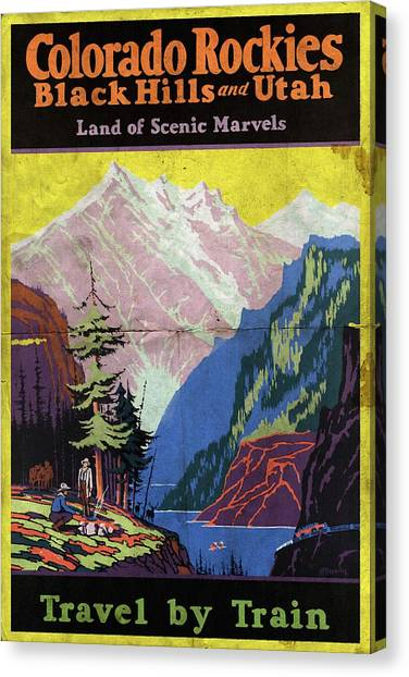 Travel By Train To Colorado Rockies - Vintage Poster Folded Canvas Print