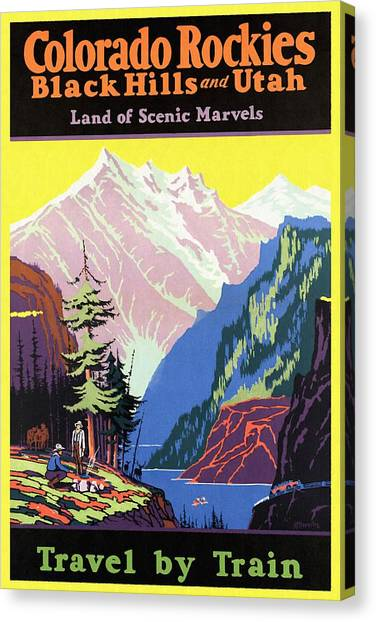 Travel By Train To Colorado Rockies - Vintage Poster Restored Canvas Print