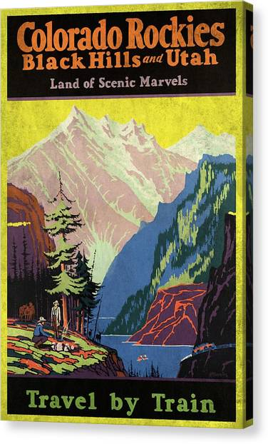 Travel By Train To Colorado Rockies - Vintage Poster Vintagelized Canvas Print