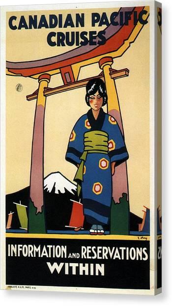 Mount Fuji Canvas Print - Travel Japan - Canadian Pacific Cruises - Japanese Girl In Kimono - Vintage - Retro Travel Poster by Studio Grafiikka