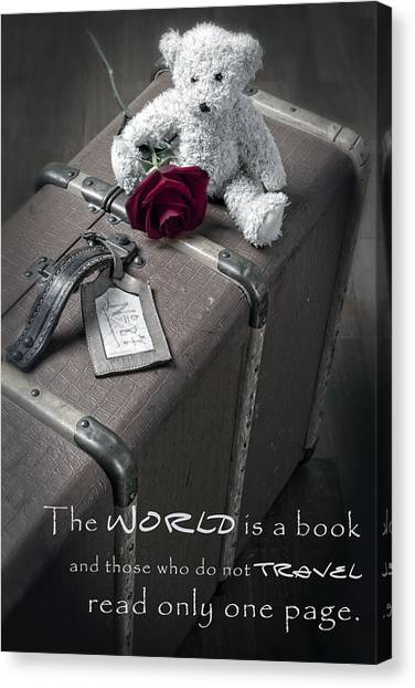 Teddybear Canvas Print - Travel The World by Joana Kruse