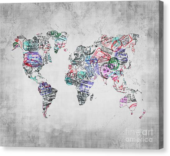 Immigration Canvas Print - Traveler Map Grey 8x10 by Delphimages Photo Creations
