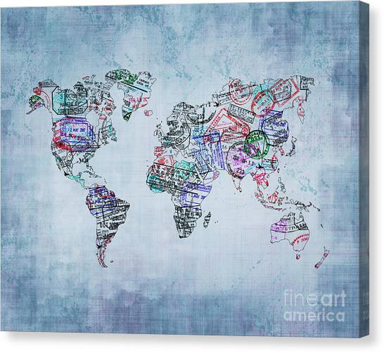 Immigration Canvas Print - Traveler World Map Blue 8x10 by Delphimages Photo Creations