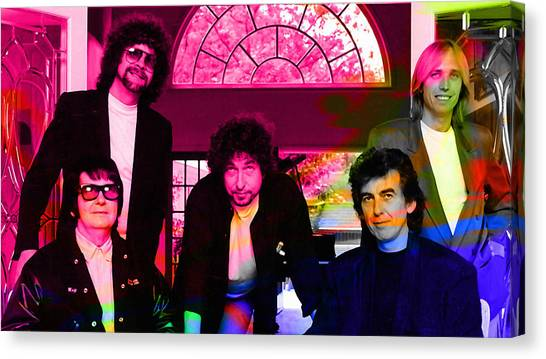 Tom Petty Canvas Print - Traveling Wilburys by Marvin Blaine