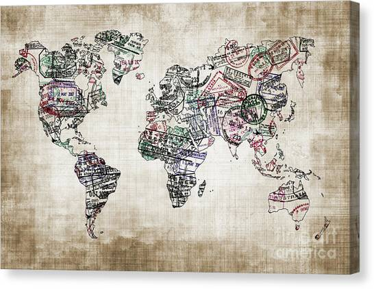 Immigration Canvas Print - Traveler World Map Sepia Color by Delphimages Photo Creations