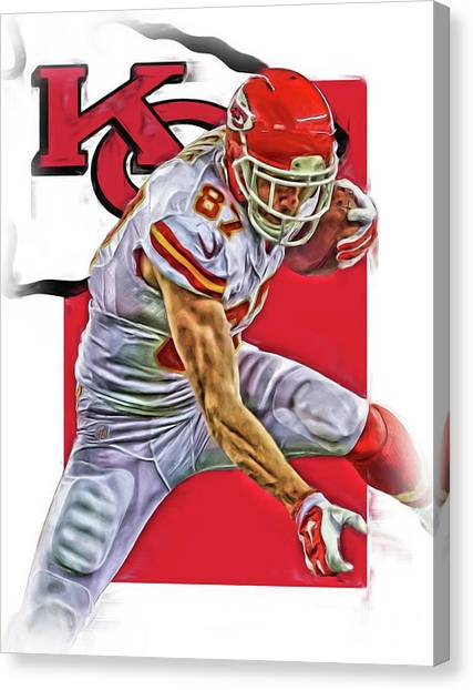 Kansas City Chiefs Canvas Print - Travis Kelce Kansas City Chiefs Oil Art by Joe Hamilton