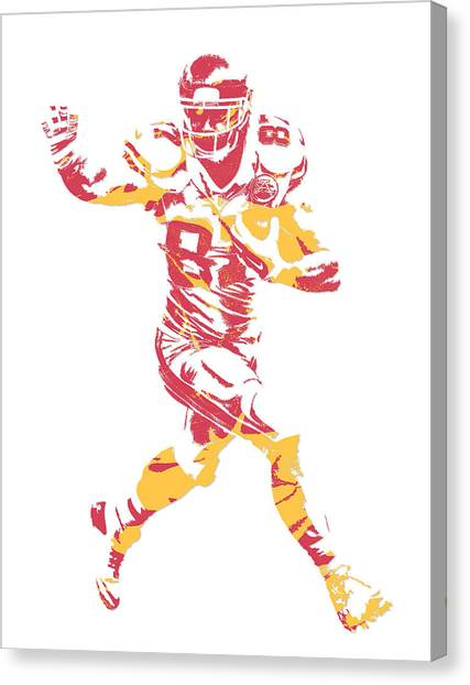 Kansas City Chiefs Canvas Print - Travis Kelce Kansas City Chiefs Pixel Art 6 by Joe Hamilton