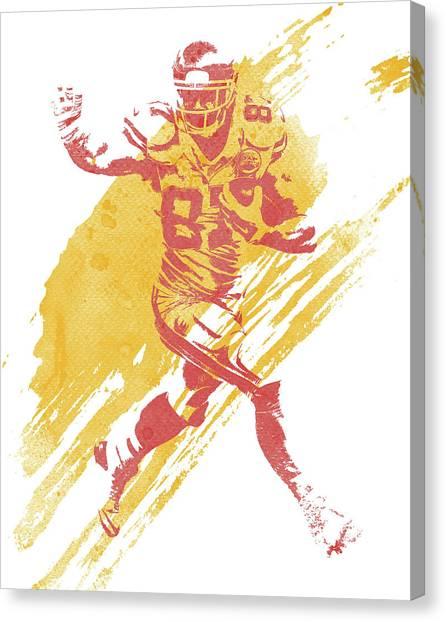 Kansas City Chiefs Canvas Print - Travis Kelce Kansas City Chiefs Water Color Art 1 by Joe Hamilton