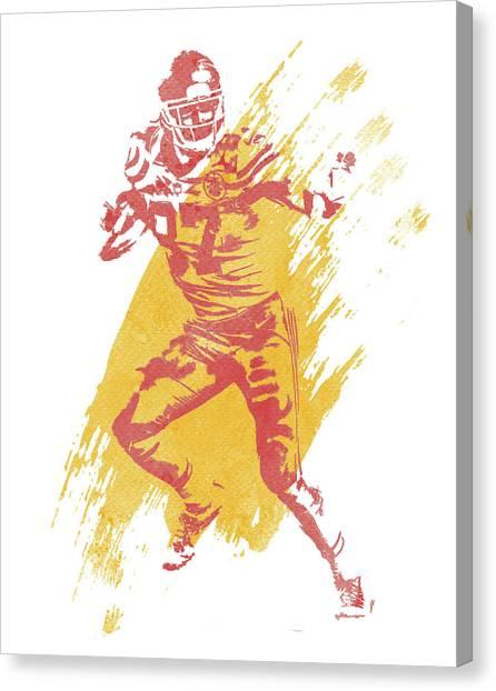 Kansas City Chiefs Canvas Print - Travis Kelce Kansas City Chiefs Water Color Art 2 by Joe Hamilton