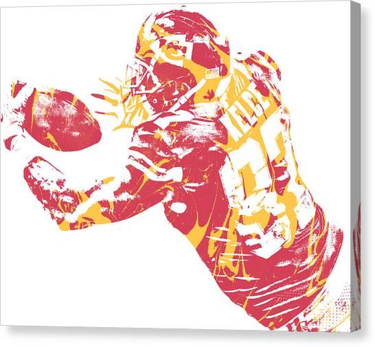 Kansas City Chiefs Canvas Print - Travis Kelce Kansas City Chiefs Water Color Art 30 by Joe Hamilton