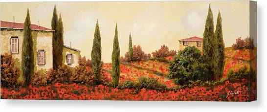 Outdoors Canvas Print - Tre Case Tra I Papaveri by Guido Borelli