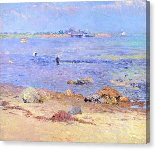 Clams Canvas Print - Treading Clams At Wickford by William James Glackens