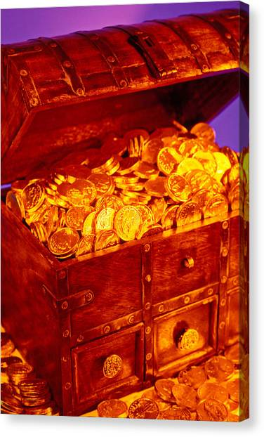 Coins Canvas Print - Treasure Chest With Gold Coins by Garry Gay
