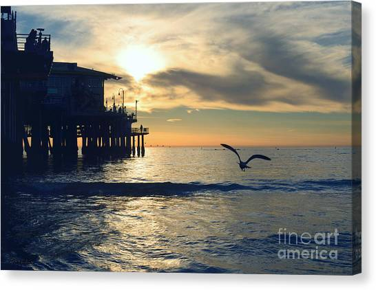 Seagull Pier Sunrise Seascape C1 Canvas Print