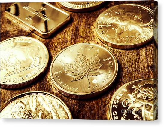 Coins Canvas Print - Treasures From The Bullion Vault by Jorgo Photography - Wall Art Gallery