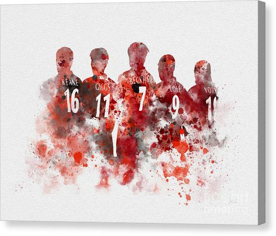 David Beckham Canvas Print - Treble Winners 1999 by Rebecca Jenkins