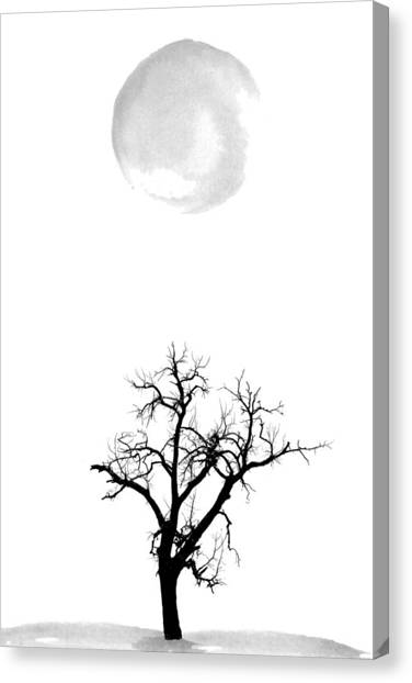 Moon Canvas Print - Tree And Moon by Nordic Print Studio