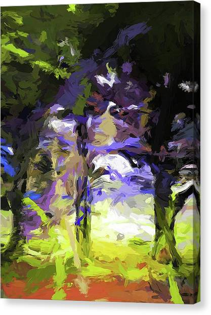 Tree Avenue Lavender Lilac Green Canvas Print