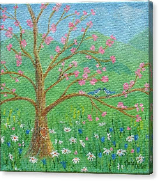 Canvas Print featuring the painting Tree For Two by Nancy Nale
