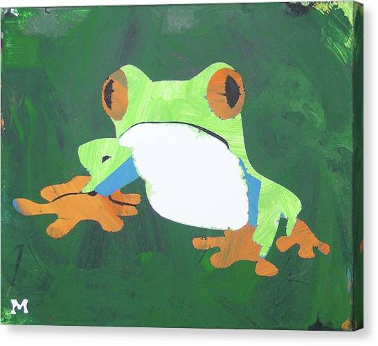 Canvas Print featuring the painting Tree Frog by Candace Shrope