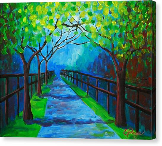 Tree Lined Fence Canvas Print