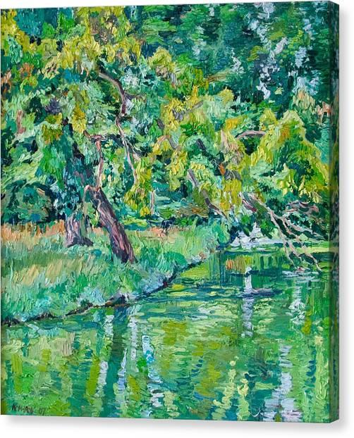 Tree Near A Pond In Lednice Castle Park Canvas Print by Vitali Komarov
