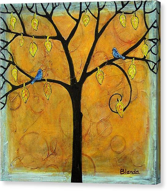 Bluebirds Canvas Print - Tree Of Life In Yellow by Blenda Studio