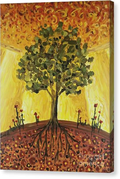Canvas Print featuring the painting Tree Of Life by Maria Langgle