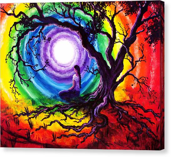 Rainbows Canvas Print - Tree Of Life Meditation by Laura Iverson