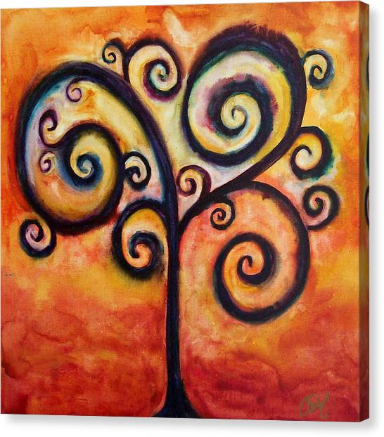 Tree Of Life Orange Canvas Print by Christy Freeman Stark