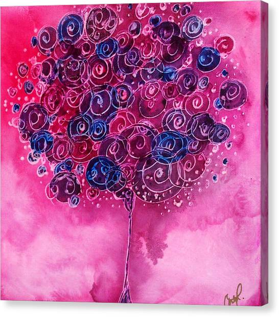 Tree Of Life Pink Swirl Canvas Print