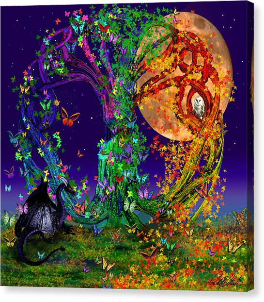 Full Moon Canvas Print - Tree Of Life With Owl And Dragon by Michele Avanti