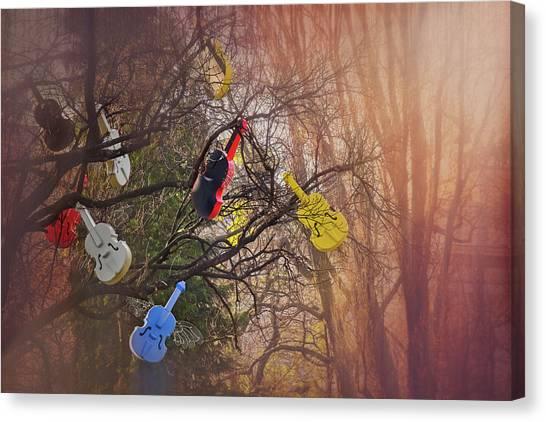 Installation Art Canvas Print - Tree Of Violins In Vienna  by Carol Japp