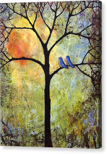 Songbirds Canvas Print - Tree Painting Art - Sunshine by Blenda Studio