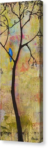 Bluebirds Canvas Print - Tree Print Triptych Section 3 by Blenda Studio