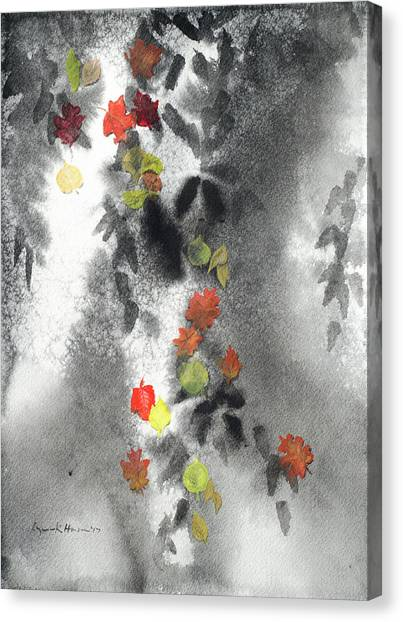 Tree Shadows And Fall Leaves Canvas Print