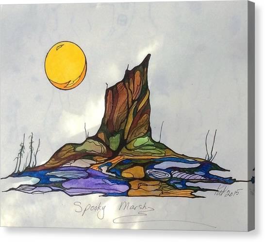 Tree Stump At Spooky Marsh Canvas Print