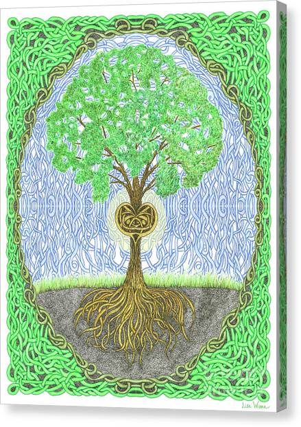 Tree With Heart And Sun Canvas Print