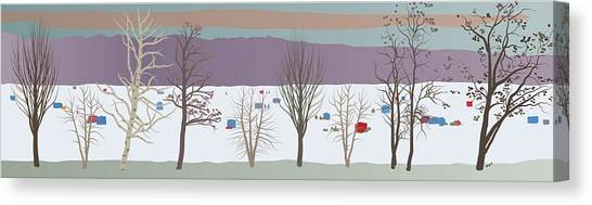Trees And Bobhouses Canvas Print by Marian Federspiel