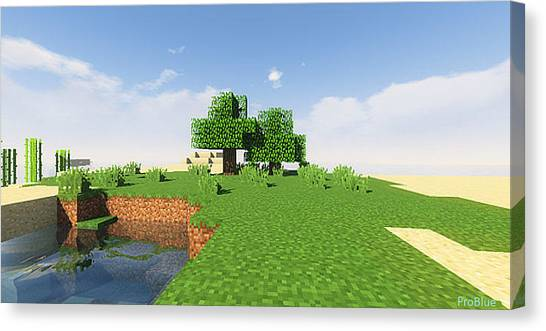 Minecraft Canvas Print - Trees And Green by Pro Blue