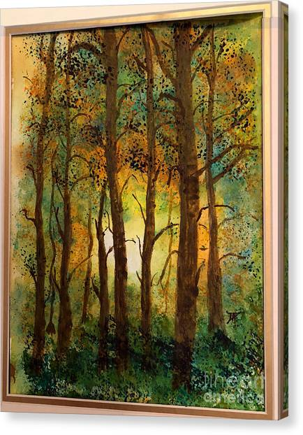 Canvas Print featuring the painting Trees by Donald Paczynski
