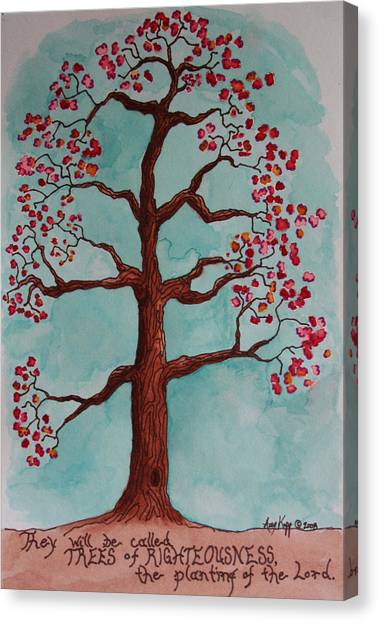 Trees Of Righteousness Illustration Canvas Print by Amy Parker Evans