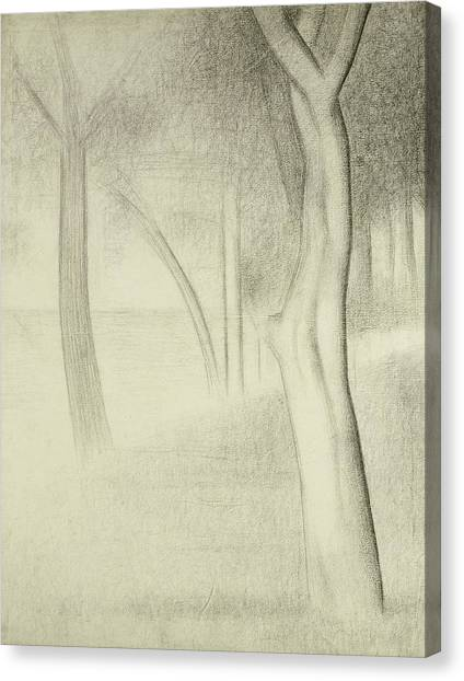 Divisionism Canvas Print - Trees  Study For La Grande Jatte by Georges Pierre Seurat