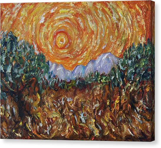 Inspired By Van Gogh Canvas Print - Trees, Yellow Sky And Sun Inspired By Vincent Van Gogh's Paintin by OLena Art Lena Owens