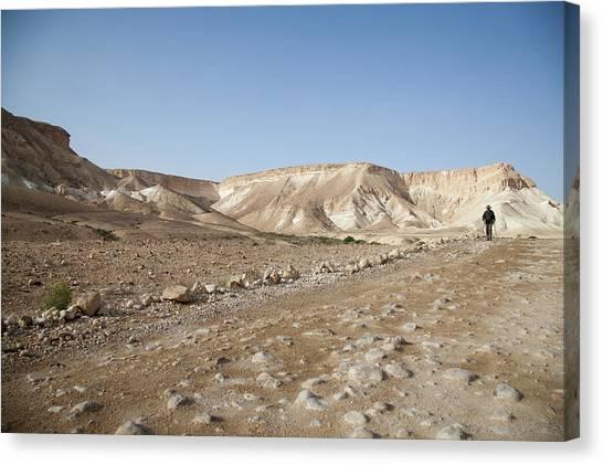 Trekker Alone On The Wild Way Canvas Print