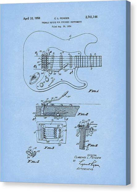Canvas Print featuring the drawing Tremolo Device 1956 Patent Art Lightblue by Prior Art Design
