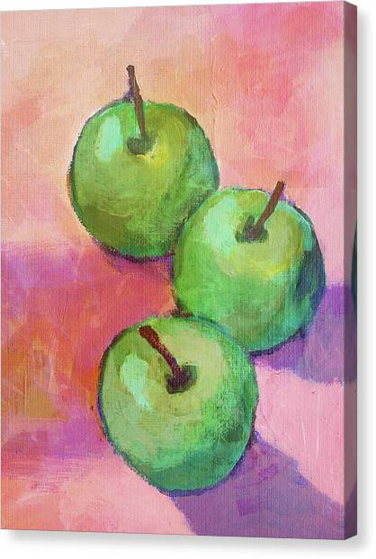 Tres Manzanas Canvas Print by Arte Costa Blanca