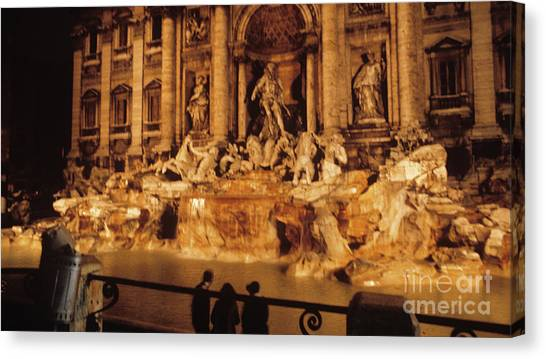 Trevi At Night Canvas Print