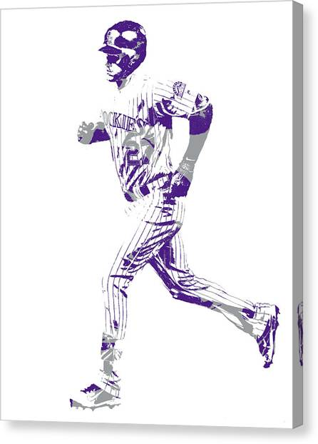 Colorado Rockies Canvas Print - Trevor Story Colorado Rockies Pixel Art 10 by Joe Hamilton