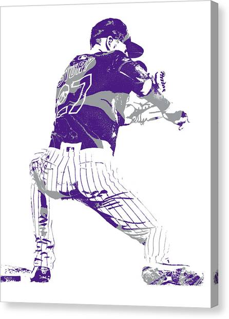 Colorado Rockies Canvas Print - Trevor Story Colorado Rockies Pixel Art 11 by Joe Hamilton